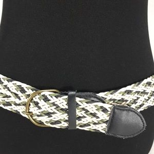 Woven Belt, Black, Cream & Green, Size 7